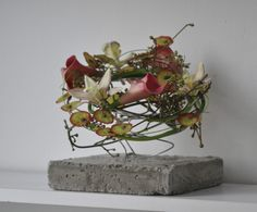 concrete with flowers - interior decoration