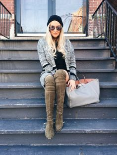 Cozy layered neutrals | OTK boots and the perfect boyfriend sweater