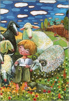Fairy Story About Childhood of Taras Shevchenko Illustrator: Oksana Heylik. Illustrations, Children's Book Illustration, Contemporary Decorative Art, Ukrainian Art, Naive Art, Baby Art, Art Lessons, Flower Art, Watercolor Art