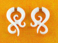 Fake Gauges, Handmade, Bone Earrings, Cheaters, Organic, Plugs, Split, Tribal Style - Asalah Twists Bone by TribalStyle on Etsy https://www.etsy.com/listing/79442454/fake-gauges-handmade-bone-earrings