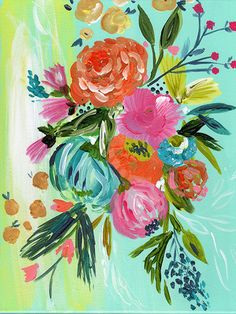 Add a pop of whimsy and color to your decor with a boho bouquet limited edition print. Personally signed by Bari J. Printed on luxe heavy weight archival paper made to last. For the safest shipping, y Art Floral, Original Art, Original Paintings, Kunst Inspo, Painting Inspiration, Diy Art, Flower Art, Painting & Drawing, Watercolor Art