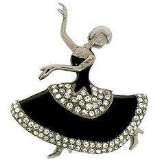 Antique Silver and Black Enamel Crystal Dancing Ballerina Brooch
