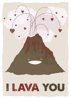 I Lava You Volcano #valentine #love #illustration (Breakfast Fruits)
