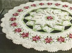 Majestic centerpiece doily with diagrams. Wouldn't that make a beautiful rug ~!~