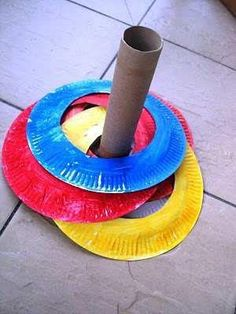 {Learn thru play} Ring Toss. Play a fun game of ring toss with paper plates. Kids Crafts, Projects For Kids, Craft Kids, Kids Sports Crafts, Summer Crafts For Toddlers, Art Projects, Paper Plate Crafts For Kids, Kids Diy, Ring Toss