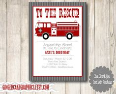 Fire Truck Birthday Invitation  Boy  by gingercakegraphics on Etsy, $14.50