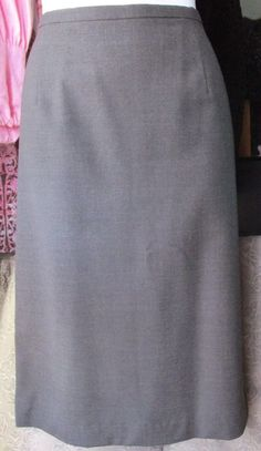 Amanda Smith Gray Wool Blend Pencil Skirt Below Knee Size 14 #AmandaSmith #StraightPencil