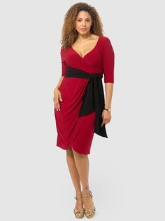 Harlow Faux Wrap Dress In Red & Black by Kiyonna,Available in sizes 0-5