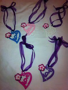 'Love' Door Hangers with Purple ribbon