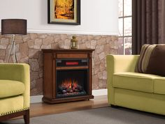Rolling electric fireplace