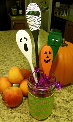 Halloween Spoons. Hand Painted Wooden Decorations. Halloween gift. Cute Kitchen Ornament. jack-o-lantern pumpkin, Frankenstein, Mummy, Ghost by BensWoodBurning on Etsy