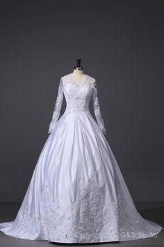 Natural White Princess Long Sleeve Zipper Muslim Wedding Dresses