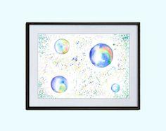 #BubbleBlower #Nursery #Air #decor #Printable #Watercolor #Digital #Download 2 sizes #Poster #Wall #Decor #INSTANT #Download #ArtPrint