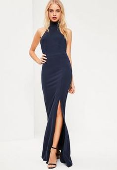 Navy Choker Neck Maxi Dress