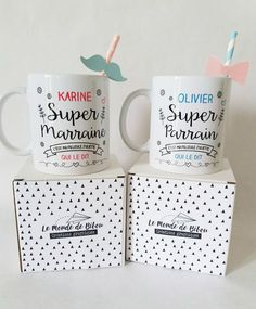 2 custom mugs for the super godfather and super godmother of your child. Personalized gift mugs to offer. Cadeau Communion, Customized Gifts, Personalized Gifts, Custom Gifts, Grilling Gifts, Godchild, Baby Shower, Practical Gifts, The Godfather