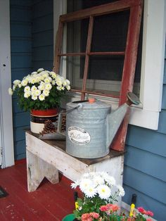 DIY Craft Projects Using Old Vintage Windows DIY Old Window Porch Project; love the color of the siding and porch! Like that bench too!DIY Old Window Porch Project; love the color of the siding and porch! Like that bench too! Vintage Windows, Old Windows, Country Decor, Farmhouse Decor, Farmhouse Windows, Country Chic, Country Crafts, French Farmhouse, Country Farmhouse