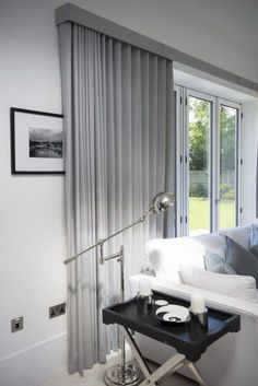 Curtains on Wave Tracks.,Ripple fold curtains on tracks over bifold doors Curtain monitor or curtain pole? The most common types of fastening for curtains are rods and rails. Curtain Pelmet, Wave Curtains, Curtains Uk, Ceiling Curtains, Luxury Curtains, Curtains Living, Curtains With Blinds, Curtain Fabric, Wood Blinds