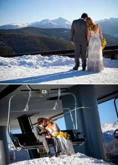 cute wedding chairlift photo