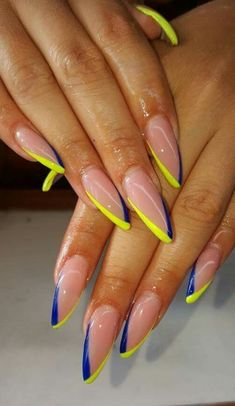 Nails nailswag acrylicnails yellow blue issavibe in pretty nail swag