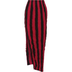 Juan Carlos Obando Striped crinkled silk crepe de chine maxi skirt ($1,290) ❤ liked on Polyvore featuring skirts, red, long red skirt, long silk skirt, striped skirts, long skirts and red skirt