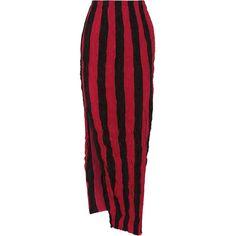 Juan Carlos Obando Striped crinkled silk crepe de chine maxi skirt (10.450 ARS) ❤ liked on Polyvore featuring skirts, bottoms, red maxi skirt, striped maxi skirts, silk maxi skirt, long skirts and long silk maxi skirt