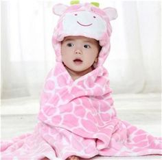 Baby Blanket - Free Shipping - Soft Hooded Cloak / Wrap - Pink Giraffe