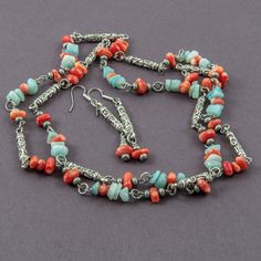 Tribal, ethnic long necklace and earrings gemstone and silver set with light blue amazonite and red coral chips