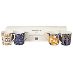 Denby Monsoon set of four 'Cordoba' mugs at debenhams.com