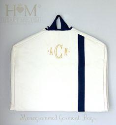 Garment Bags - Monogrammed Garment Bag - Canvas Garment Bag  - Groomsmen Bag - Bridal Gift by heartmelter on Etsy https://www.etsy.com/listing/250959564/garment-bags-monogrammed-garment-bag