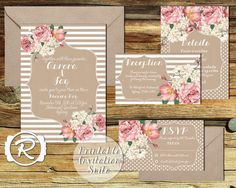 Printable Wedding Invitation, Floral Wedding Invite, All the Pretty Peonies, Floral Rustic Style, RSVP card DIY Printable Invitations