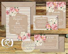 Printable Wedding Invitation, Floral Wedding Invite, All the Pretty Peonies, Floral Rustic Style, RSVP card DIY Printable Invitations