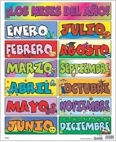Los meses - Months of the Year in Spanish Spanish Words, Spanish English, Spanish Language, Learning Spanish For Kids, Spanish Teaching Resources, Preschool Spanish, Learn To Speak Spanish, Learn Spanish Online, Spanish Basics