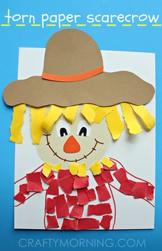 Torn Paper Scarecrow Kids Craft for Fall! - Crafty Morning Torn Paper Scarecrow Kids Craft for Fall! Daycare Crafts, Classroom Crafts, Fall Crafts For Kids, Art For Kids, Winter Craft, Art Project For Kids, Crafts For Children, Fall Crafts For Preschoolers, Thanksgiving Kids Crafts