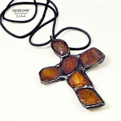 Large Baltic amber cross.  Classy gift hand made // Bursztynowy krzyżyk duży bis. Prezent hand made