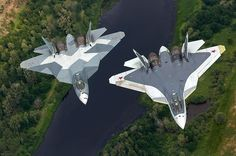Two Russian Sukhoi T-50 By Vadim Savitsky
