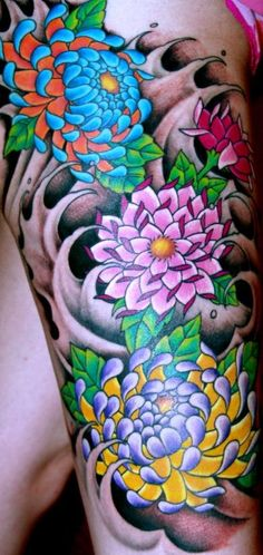 colorful flower tattoos - Google Search