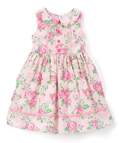 Pink Floral Sleeveless A-Line Dress - Infant Toddler & Girls