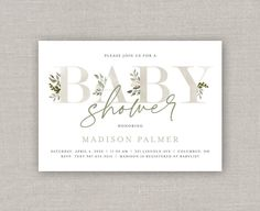 Greenery Baby Shower Invitation | Etsy Baby List, Overnight Shipping, Front Design, White Envelopes, Baby Shower Invitations, Photo S, Greenery, Place Card Holders, Prints