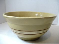 Vintage Yellow Ware 10 Mixing Bowl White and by TheInstantMemory