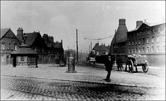 Victoria Square, Fenton - on the right is the works of Masons Ironstone China  photo: c.1915  The Mason family were producers of the famous 'Patent Ironstone China' - In 1815 George Miles Mason & Charles James Mason moved to the works in what is now Victoria Place
