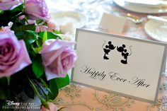 """Happily Ever After"" Mickey and Minnie Mouse head table card #Disney - LOVE this!   Plus Disney engagement photos."