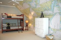 Fun boy's room with entire Eastern Seaboard on accent wall.