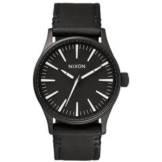Nixon The Sentry 38 Leather Watch ($130) ❤ liked on Polyvore featuring jewelry, watches, accessories, black white, leather jewelry, nixon jewelry, dial watches, analog watch and buckle jewelry