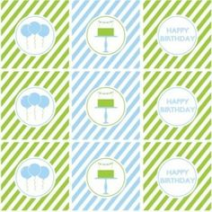 """An Entire Collection of FREE Blue and Green Boy Birthday Printables. It's everything you'd need to throw your special boy a fabulous party. This collection includes: invitations, cupcake toppers/party circles, cupcake wrappers, favor tags, water bottle labels, flat cards, tented cards, candy bar wrappers, and an adorable """"Happy Birthday"""" banner."""