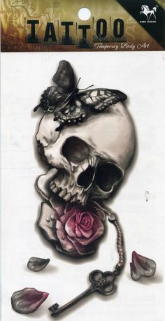 Punk sexy temporary tattoos skull rose flower key butterfly butterfly tatoo neck arm shoulder lower back chest for women and men(China (Mainland))
