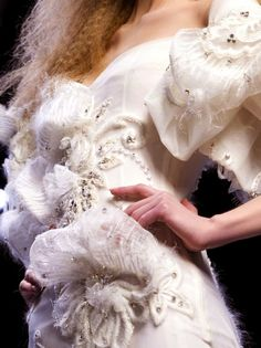 Beautiful fabric flowers and dimensional detail; fashion close up // Christian Dior Haute Couture