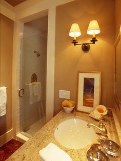 For a small bathroom...love the tile and clear shower door to make it feel bigger and more luxurious