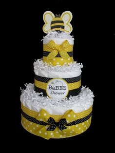 bumble bee diaper cake, this would be a cute centerpiece at a gender reveal party