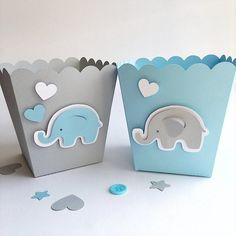 Excited to share the latest addition to my shop: Blue Gray Elephant Favor Boxes Boy Baby Shower Decorations Elephant 1 st Birthday Decor Popcorn Paper Party Blue Gray Containers Baby Shower Table, Baby Shower Favors, Baby Shower Themes, Baby Boy Shower, Baby Shower Gifts, Shower Ideas, Elephant Theme, Elephant Party, Elephant Gifts