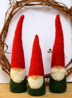 Felted Christmas Gnome figurine - Waldorf Inspired -Red and Green on Etsy, $23.70